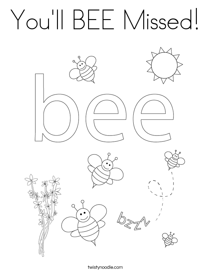 You'll BEE Missed! Coloring Page