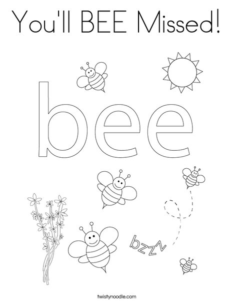 You'll BEE Missed Coloring Page - Twisty Noodle
