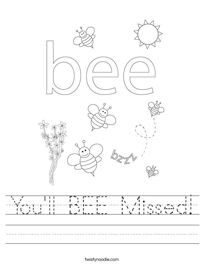 You'll BEE Missed! Worksheet