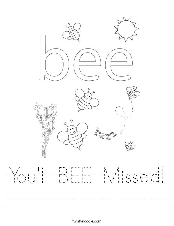 You'll BEE Missed! Worksheet