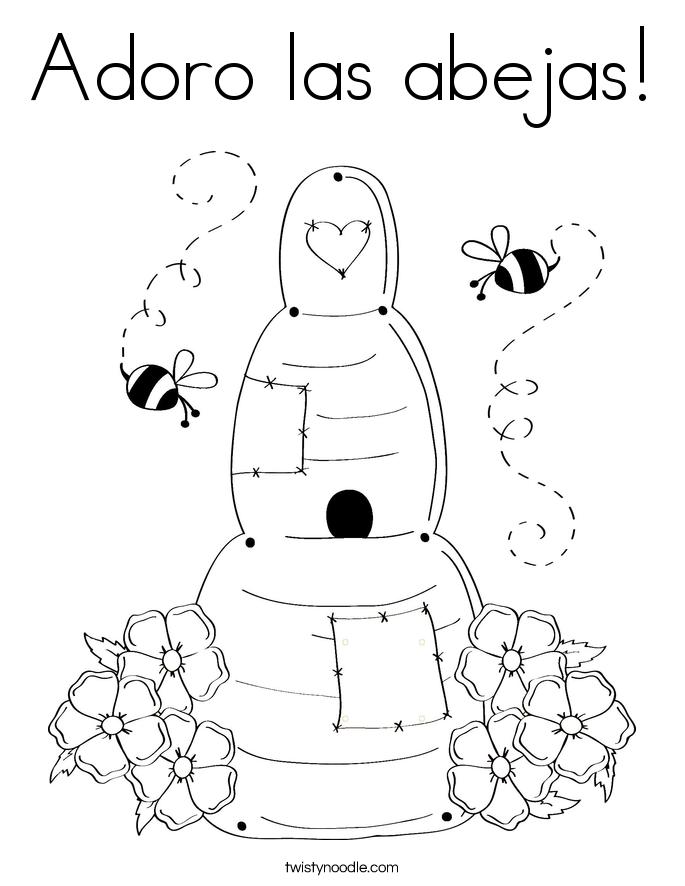 Adoro las abejas! Coloring Page