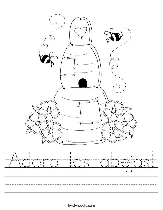 adoro las abejas worksheet twisty noodle. Black Bedroom Furniture Sets. Home Design Ideas