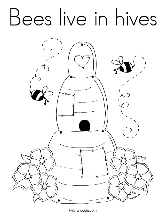 Bees live in hives Coloring Page