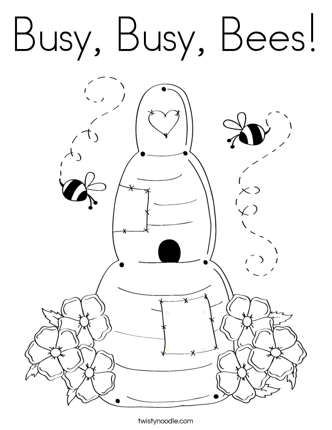 Busy Busy Bees Coloring Page Twisty Noodle