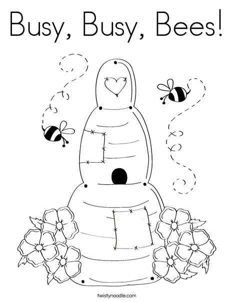 Busy, Busy, Bees Coloring Page - Twisty Noodle