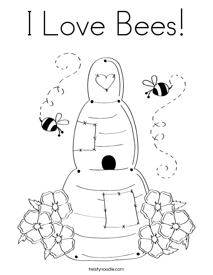 I Love Bees! Coloring Page