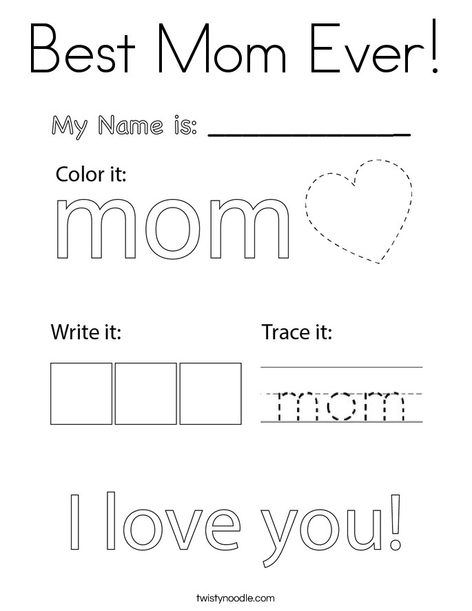 Best Mom Ever! Coloring Page