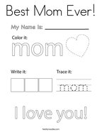 Best Mom Ever Coloring Page