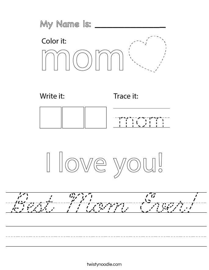 Best Mom Ever! Worksheet