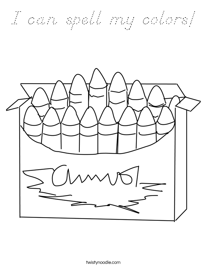 I can spell my colors! Coloring Page