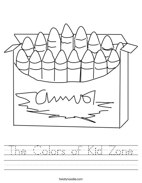 Printables Kidzone Worksheets the colors of kid zone worksheet twisty noodle big box crayons worksheet
