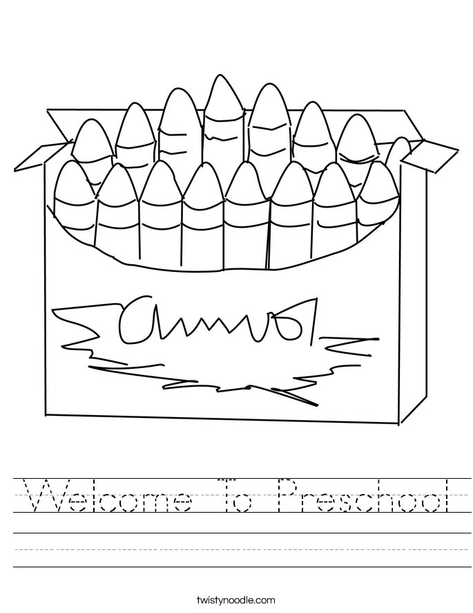 Welcome To Preschool Worksheet