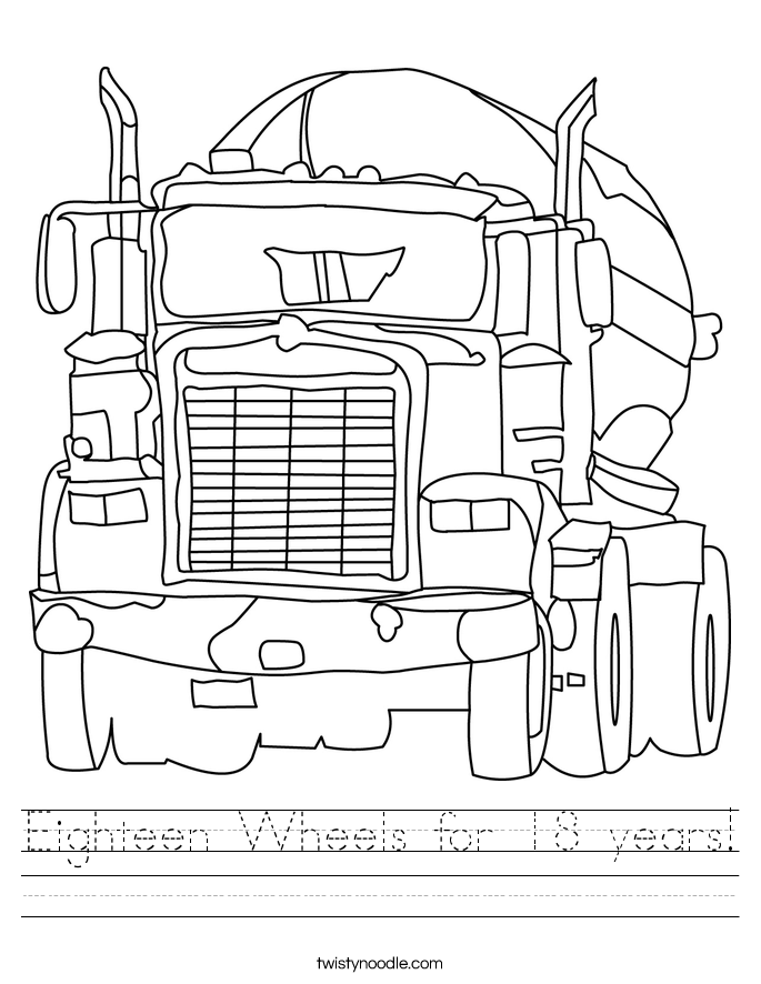Eighteen Wheels for 18 years! Worksheet