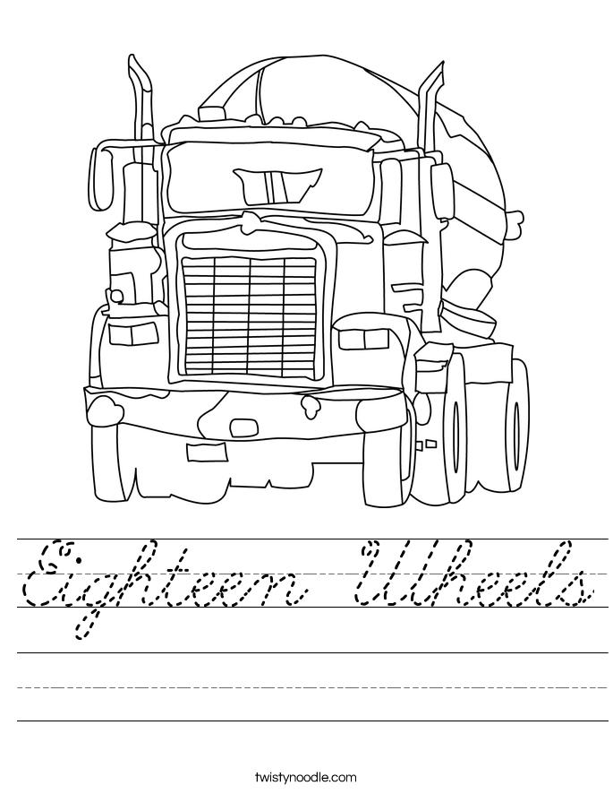 Eighteen Wheels Worksheet