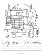Eighteen Wheels Handwriting Sheet