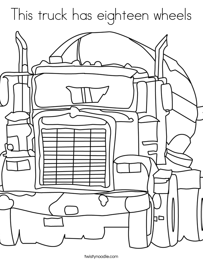 This truck has eighteen wheels Coloring Page