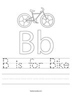 B is for Bike Handwriting Sheet