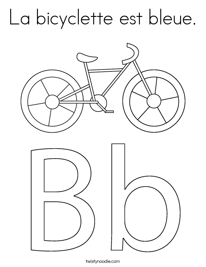 La bicyclette est bleue. Coloring Page