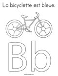 La bicyclette est bleue.Coloring Page