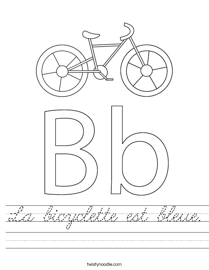 La bicyclette est bleue. Worksheet