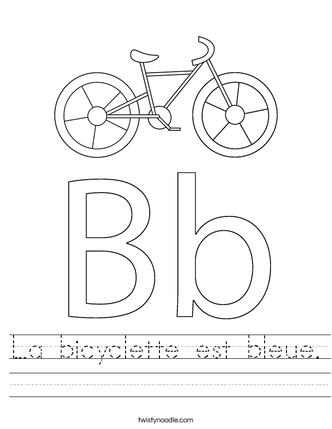 La bicyclette est bleue. Worksheet
