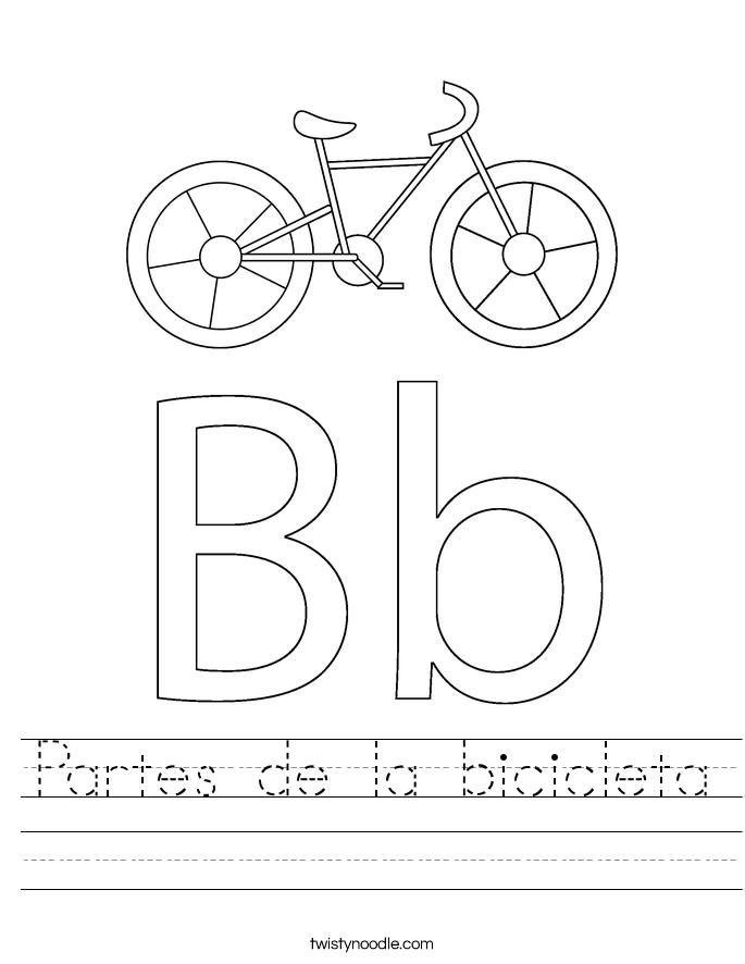 Partes de la bicicleta Worksheet