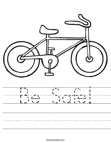 Keeping Myself Safe When Cycling Safety Worksheet / Activity