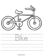 Bike Handwriting Sheet