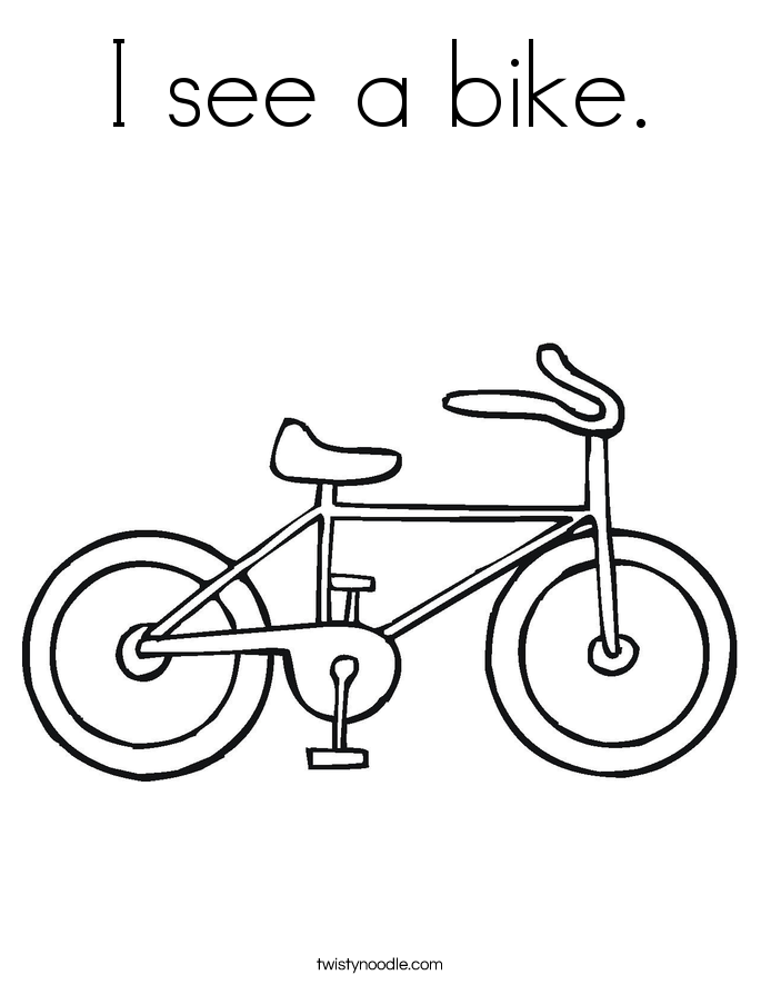 I see a bike. Coloring Page