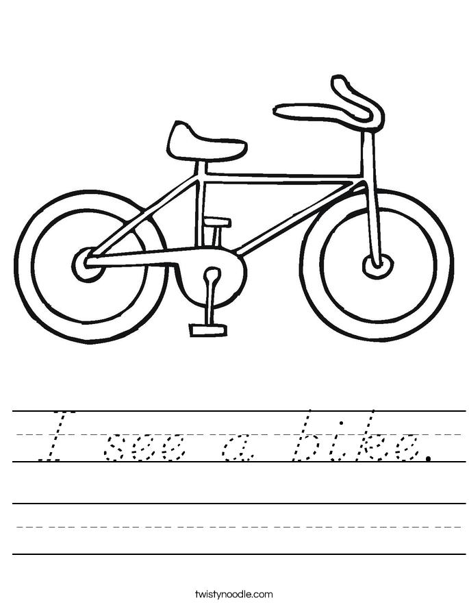 I see a bike. Worksheet