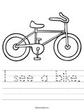 I see a bike. Worksheet