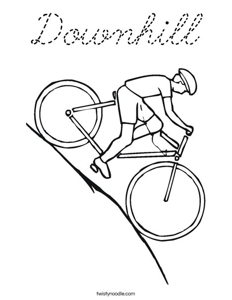 Bike Going Downhill Coloring Page