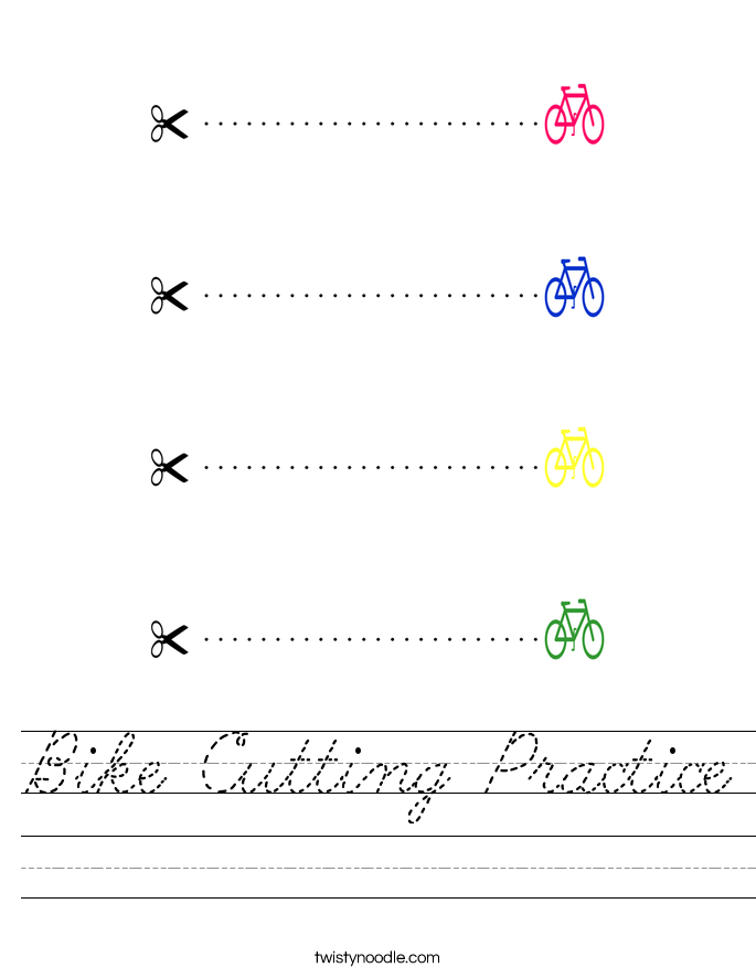 Bike Cutting Practice Worksheet