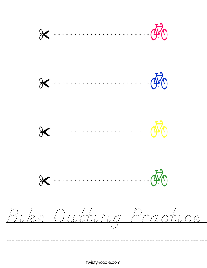 Bike Cutting Practice Worksheet