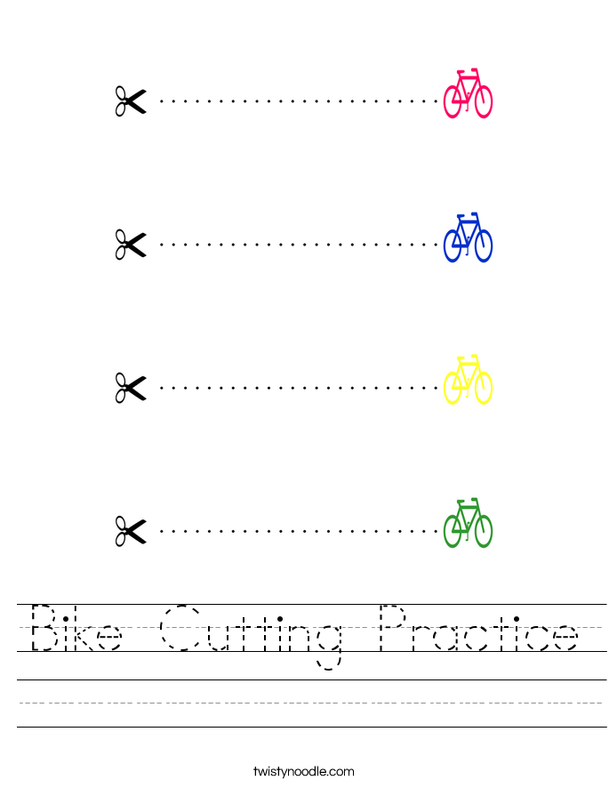 Bike Cutting Practice Worksheet Twisty Noodle – Cutting Worksheet