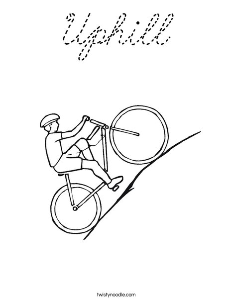 Bike going uphill Coloring Page