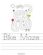 Bike Maze Handwriting Sheet