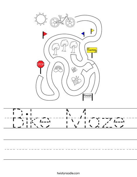 Bike Maze Worksheet