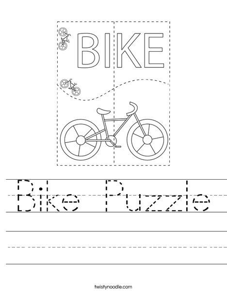 Bike Puzzle Worksheet
