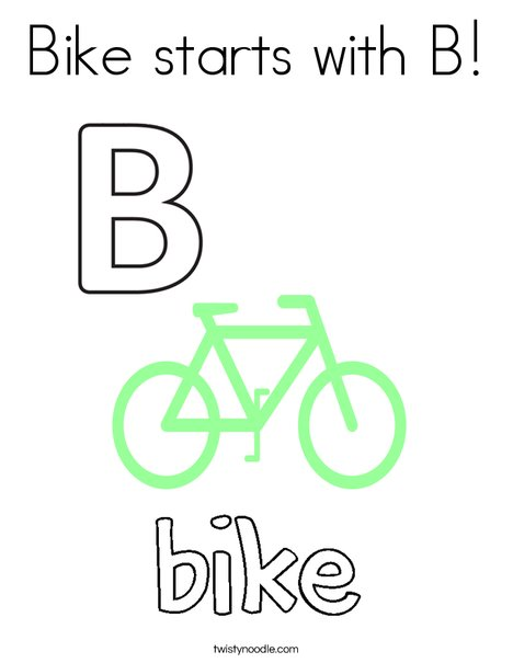 Bike starts with B! Coloring Page