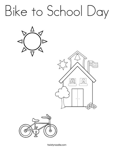 Bike to School Day Coloring Page