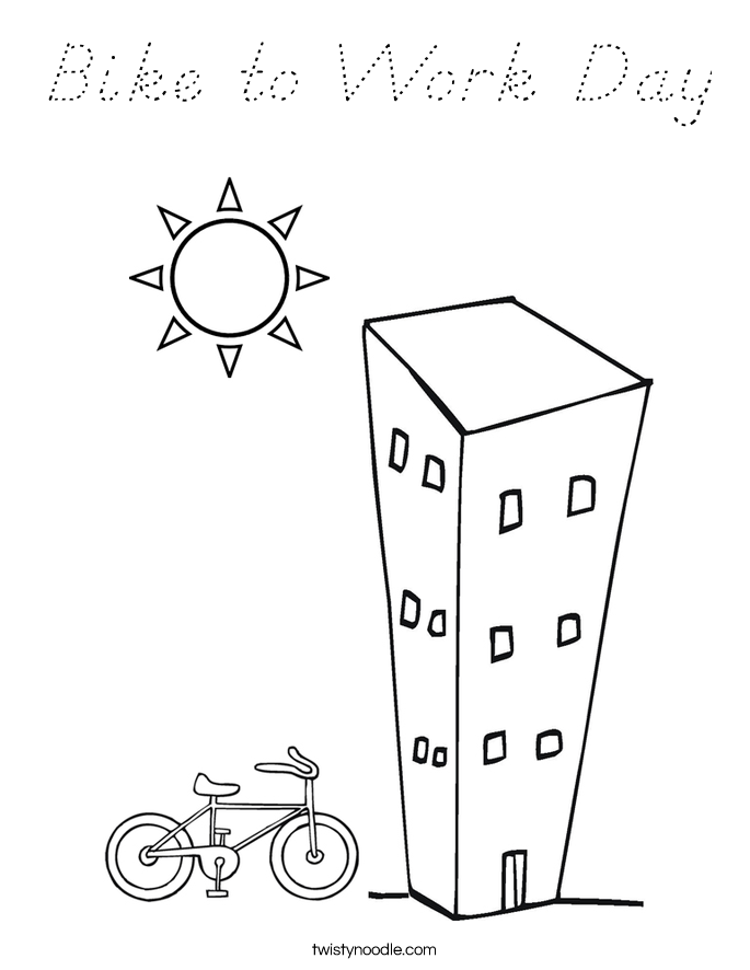 Bike To Work Day Coloring Page D Nealian Twisty Noodle D Day Coloring Pages