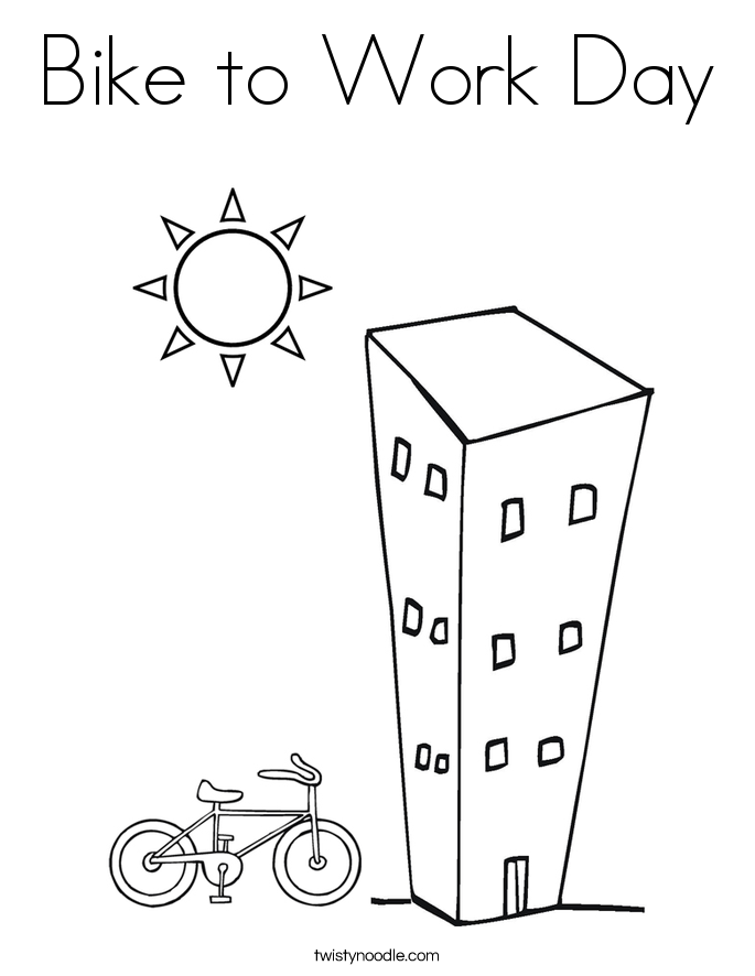 Bike to Work Day Coloring Page