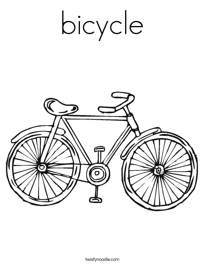 Bicycle coloring page twisty noodle for Coloring pages bikes