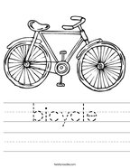 bicycle Handwriting Sheet