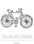 Can you ride a bicycle? Worksheet