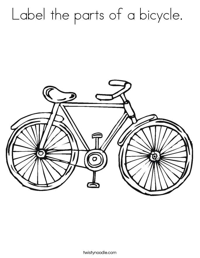 Label the parts of a bicycle.  Coloring Page