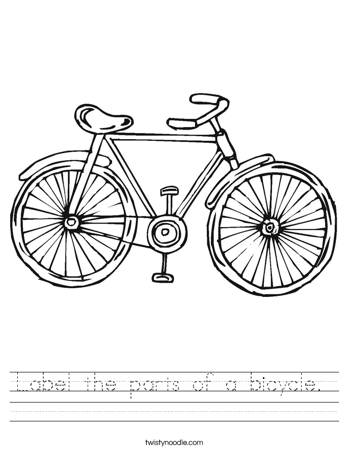 Label the parts of a bicycle.  Worksheet