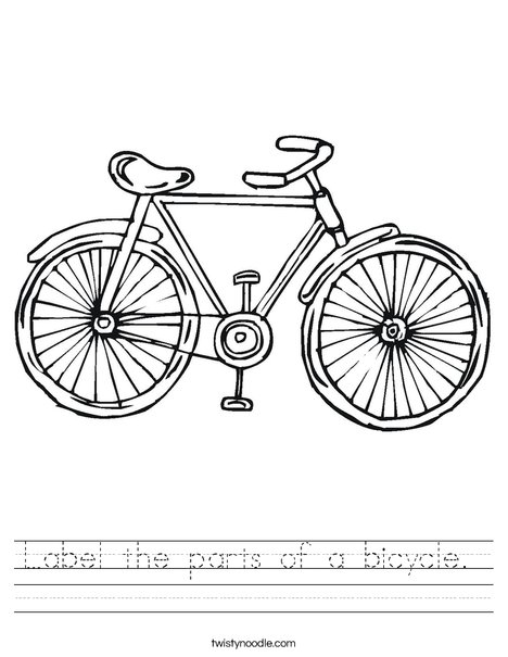 Label The Parts Of A Bicycle Worksheet Twisty Noodle