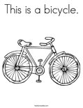 This is a bicycle. Coloring Page